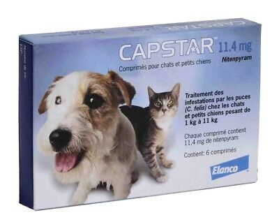 CAPSTAR Blue 6 Tablets for Cats - Dogs under 25 lbs - FAST FREE SHIPPING -