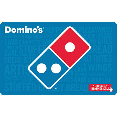 25 Dominos Physical Gift Card For Only 21 - FREE 1st Class Mail Delivery