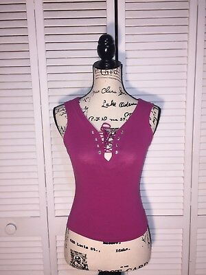 Wet Seal Ribbed Tank Womens Size S Small Tie Up V-Neck Pink Sleeveless