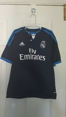Adidas Real Madrid 1516 Third 3rd Jersey Soccer Navy YOUTH Medium 10-12yr USED
