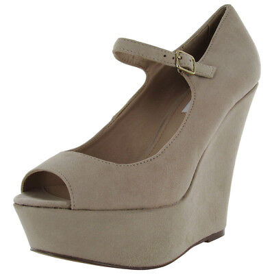 Steve Madden Womens Whereto Peep Toe Dress Wedge Pump