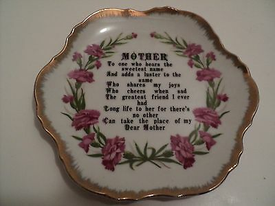 Vintage China Mothers Day Love Dish Gold Trim Pink Flowers 7 x 7 Japan Made