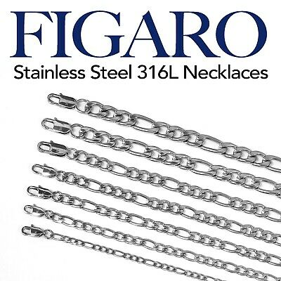 Stainless Steel 316L Figaro Chain Necklace Men Women 14-48 Thickness 4-10mm