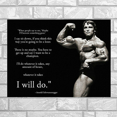 I WILL DO ARNOLD SCHWARZENEGGER Bodybuilding Motivational Quotes Silk Poster