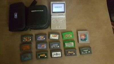 Nintendo Game Boy Advance SP silver bundle with 14 popular games