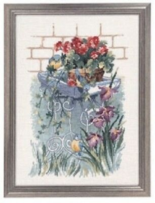 Blue Titmouse in the Garden by Permin Counted Cross-stitch Pattern