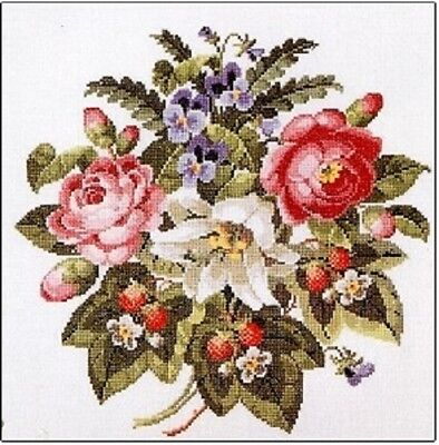 Roses and Strawberries Copenhagen by Permin Counted Cross-stitch Pattern