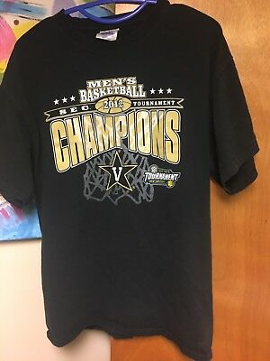 VANDERBILT COMMODORES 2012 SEC Mens Basketball Tournament Champions T-shirt L