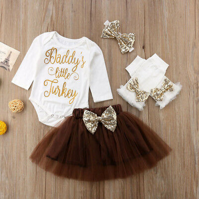 DADDYS LITTLE TURKEY Baby Girls Tops-Tutu Skirts Headband Outfit Thanksgiving
