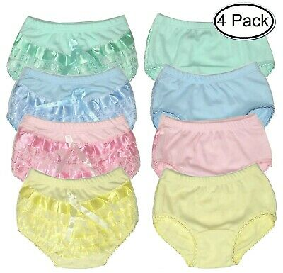Baby Bloomers Diaper Cover Cloth Lace Ruffle Toddler Girls Panties 4-Pack Rumba