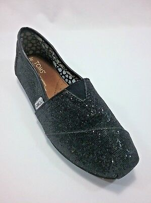 Toms Womens Shoes Canvas Classic Original Slip On Casual Black Glitter Size 7 M