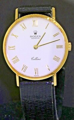 Rolex Cellini 4112 18K YG mens mechanical dinner watch w white dial W-serial