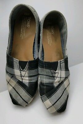 Womens TOMS Gray Plaid Flannel Casual Slip-On Shoes Size 8-5