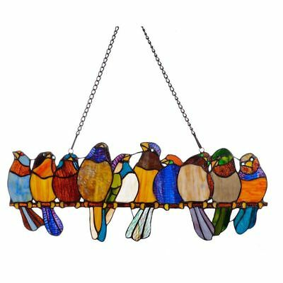 Tiffany-style Stained Glass Birds Perched Elegantly on a Wire Window Panel