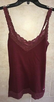 HOLLISTER Co Betty Burgundy Red Tank Top Camisole Cami Lace Sz Small S NWT