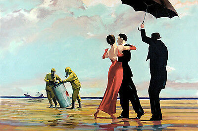 Banksy Oil Spill Beach Dancers graffiti street art on Canvas ACEO