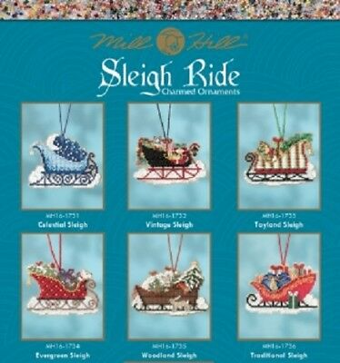 Mill Hill Winter Holiday Sleigh Ride Ornament - Multiple Designs to Choose From