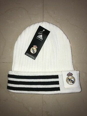 Authentic ADIDAS Real Madrid 3 Striped White WoolieBeanie One Size
