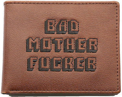 PULP FICTION REAL LEATHER EMBROIDERED BROWN BAD MOTHER FKER WALLET