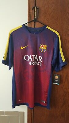 2015 2016 Nike FC Barcelona Pre Match Top Jersey Blue R Y Size L BNWT Authentic