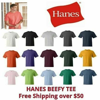 HANES BEEFY-T MENS COTTON T-SHIRT 6-1 OZ SHORT SLEEVE 5180 S-3XL 25 COLORS NEW