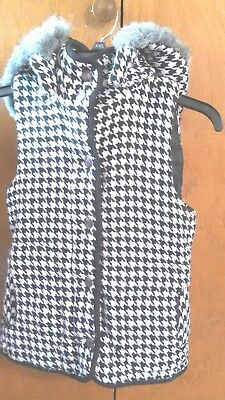 Wet Seal HOUNDSTOOTH Womens Size M WINTER Hoodie Button VEST Jacket COAT