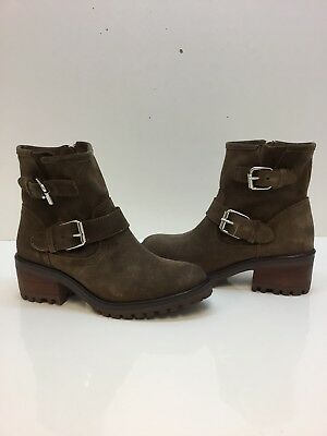 Steve Madden Womens GAIN Motorcycle Boot Taupe Suede Leather Size 8-5