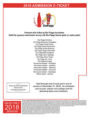 1 Six Flags Holiday in the Park e-Ticket Single Day Admission -Free Gift