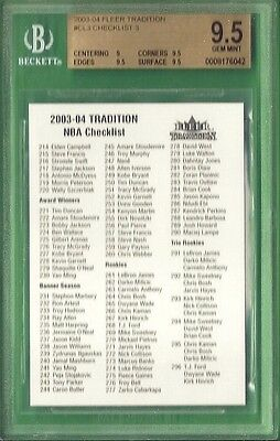 BGS 9-5 LEBRON JAMES ROOKIE CLASS OF 2003-04 CHECKLIST FLEER TRADITION CL3 Wade