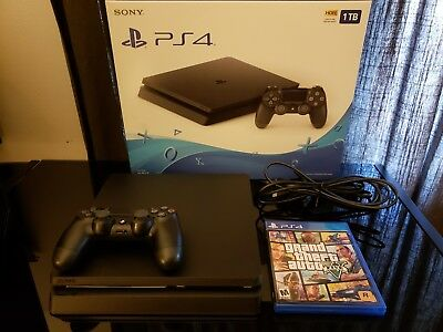 Sony PlayStation 4 Slim 1TB Black Gaming Console Bundle with GTA 5