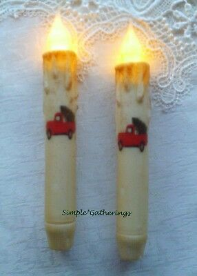 2 RED TRUCK w CHRISTMAS TREE TIMER Taper Candles Grungy Cream 6 34 Primitive