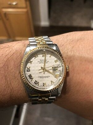 ROLEX DATEJUST 18KSTAINLESS 16233 JUBILEE IVORY PYRAMID DIAL W BOX AND PAPERS