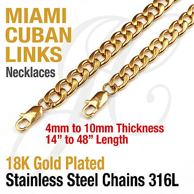 18K Gold Plated Stainless Steel 316L Miami Cuban Curb Link Chain Necklace 14-48
