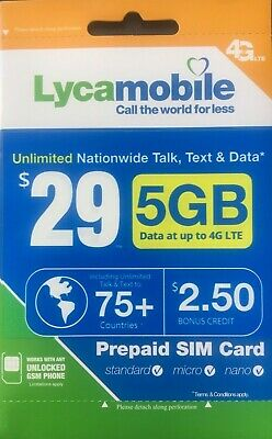 LYCAMOBILE Preloaded Sim Card Prepaid 23293539 123 Months TextTalk Data