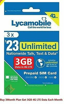 LYCAMOBILE Preloaded Sim Card 23X3 Months Plan Talk Text 3GB Data WITH  4G LTE