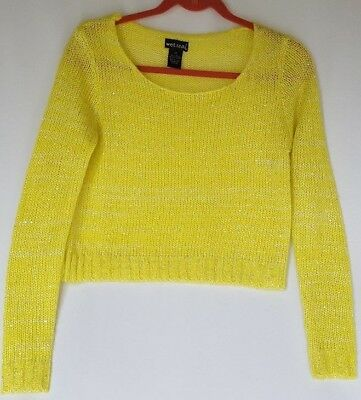 Wet-seal Womens Chartreuse Sweater Scoop Neck Long Sleeve Pullover Size XS