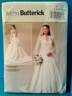 Butterick B5731 Wedding Dress Gown Sewing Pattern Kate Middleton 5731 - NEW