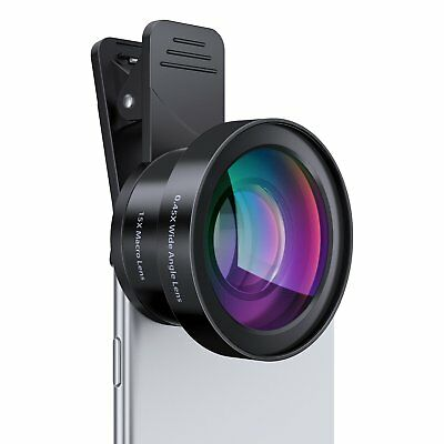 AUKEY Ora iPhone Camera Lens 0-45 x 140 Wide Angle 15x Macro Clip On iPhone