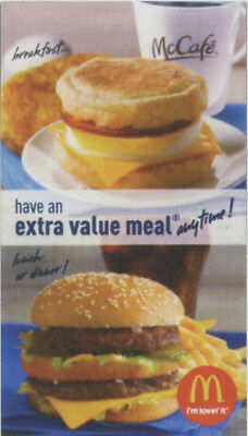 30 McDonalds Combo Meal Cards with No Expiration