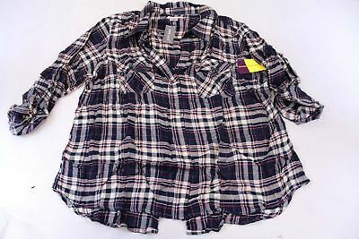 Wet Seal Womens Plus Roll Long Sleeve V-Neck Plaid Top TW4 Navy Size 2X NWT