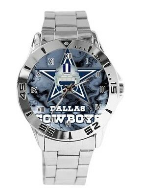 DALLAS COWBOYS STAINLESS STEEL QUARTZ WATCH- 15 W FREE SHIPPING IN USA