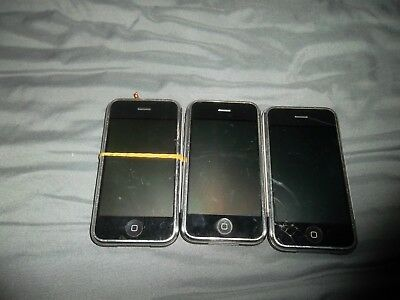 Lot of 3 Broken iPhone 2 A1203 Phones - Mixed Carriers - Storage  Lost - Found