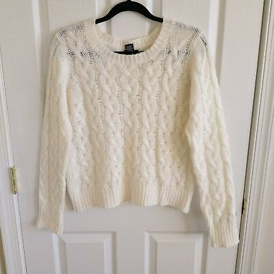 WET SEAL Womens S Chunky Cable Knit Braided Sweater Ivory Cream Cute