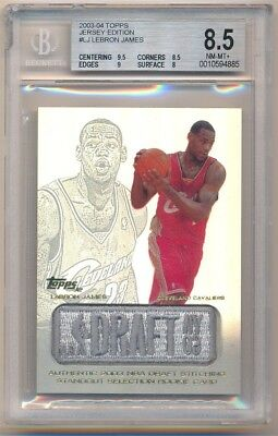 LEBRON JAMES 200304 TOPPS JERSEY EDITION ROOKIE DRAFT LOGO PATCH BGS 8-5 NM-MT-