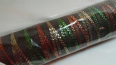30 Foot Poly Mesh Metallic on Brown Harvest Thanksgiving Decor 21 in Wide