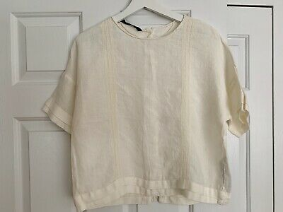 Zara Woman Linen Boxy Top-Off WhiteIvory-XS-Worn Once- Back Buttons Style