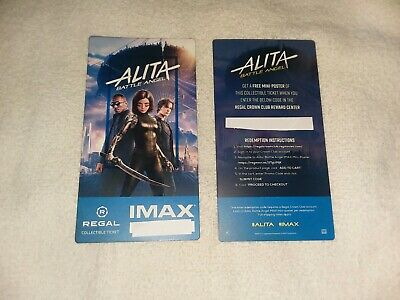 Alita Battle Angel Imax Ticket Regal Collectible  out of 1000 Free Poster Code