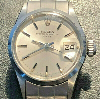 ROLEX 6516 Oyster Perpetual Date Stainless Steel 1971 26mm Rivet Band plexi