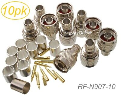 10-Pack N Male Crimp Type RF Connectors for RG8RG213LMR400 Coax Wire