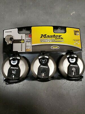 Master Lock Padlock Home Safety Security Shrouded Disc Pick Resistant 3-Pack New